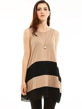 Ericdress Loose Stripe Patchwork Mid-Length Tunic T-shirt