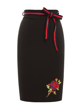 Floral Embroidery Plain Knee-Length Skirt