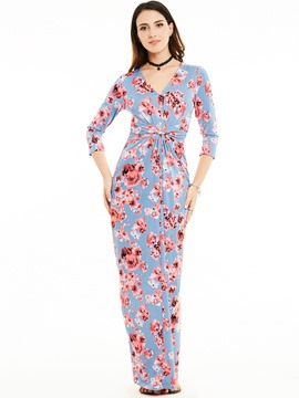 Ericdress V-Neck Three-Quarter Sleeves Flower Print Maxi Dress