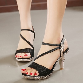 Ericdress Luxurious Rhinestone Low Heel Stiletto Sandals