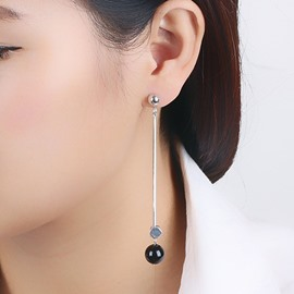 Ericdress Black Bead Design Asymmetric Linear Earrings