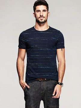 Ericdress Round Neck Stripe Short Sleeve Men's T-Shirt