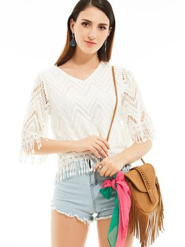 Ericdress Hollow Tassel Patchwork Plain Blouse