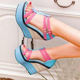 Ericdress Sexy Contrast Color Platform Untra High Wedge Sandals