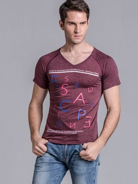 Ericdress Short Sleeve V-Neck Slim Fit Men's T-Shirt