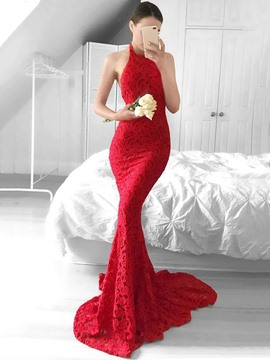 Ericdress Sexy Backless Halter Lace Mermaid Evening Dress With SweepTrain