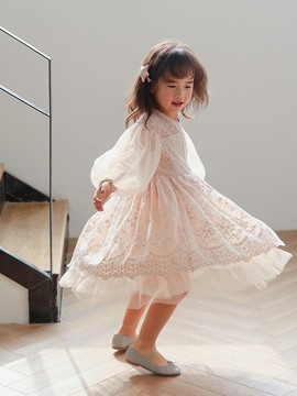 Ericdress Sweet Lantern Sleeve Embroidery Lace Mid-Calf Dress