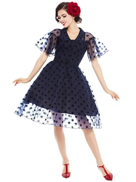 Ericdress Polka Dots Petal Sleeve Lapel A Line Dress