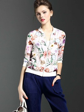 Ericdress Floral Print Zipper Jacket