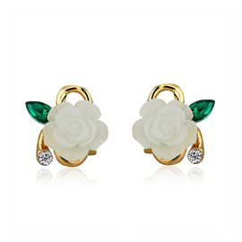 Ericdress Sweet White Resin Rose Design Stud Earrings