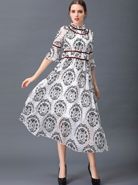 Ericdress Pastoral Print Falbala Maxi Dress