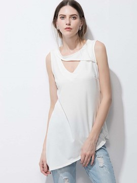 Ericdress Hole Asymmetric Solid Color T-Shirt