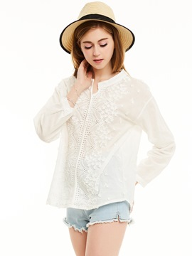 Ericdress Round Neck Appliques Hollow Shirt