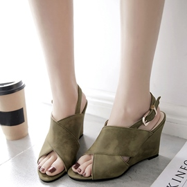 Ericdress Suede Peep Toe Backless Wedge Sandals