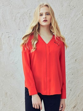 Ericdress V-Neck Loose Chiffon Blouse