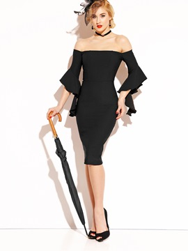 Ericdress Slash Neck Long Sleeves Ruffles Bodycon Dress
