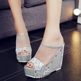 Ericdress Mesh Platform Peep Toe Wedge Sandals