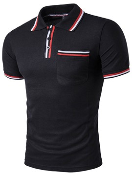 Ericdress Stripe Patched Short Sleeve Casual Men's T-Shirt