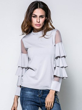 Ericdress Solid Color Mesh Patchwork Frill Bell Sleeve T-Shirt