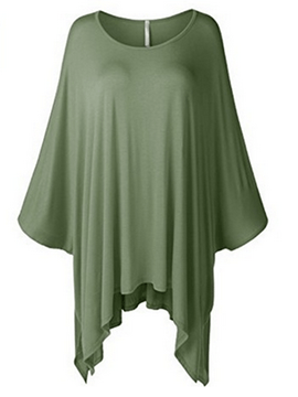 Ericdress Batwing Sleeve Solid Color Pleated T-Shirt