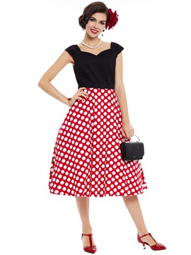 Ericdress Polka Dots Patchwork Backless Expansion Dress