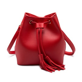 Ericdress Litchi Grain with Tassel Crossbody Bag
