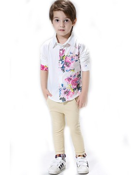 Ericdress Flowers Printed Shirt & Skinny Pants 2-Pcs Boys Suit