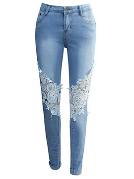 Ericdress High Waisted Lace Light Blue Women's Jeans