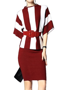 Ericdress Strip Patchwork Half Sleeve Bodycon Dress