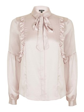 Ericdress Bow Tie Light Pink OL Blouse