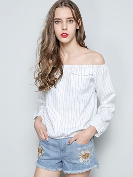 Ericdress Off-Shoulder Stripped Blouse