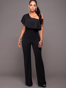 Ericdress Pure Color Wide Leg Women's Jumpsuits