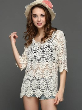 Ericdress Straight Floral Lace Blouse