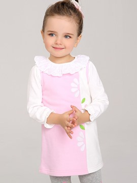 Ericdress Cotton Print Color Block Sleeveless Baby Girls Dress