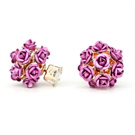 Ericdress Sweet Pink Rose Beading Stud Earrings