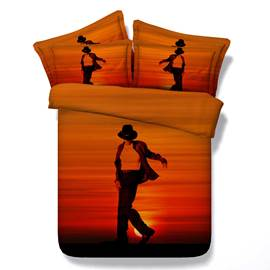 Male Dancer at Sunset Cotton 4-Piece 3D Bedding Sets/Duvet Covers