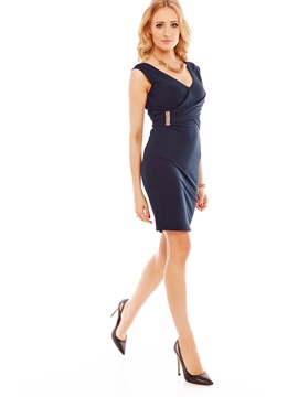 Ericdress V-Neck Sleeveless Zipper Work Dress