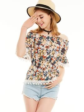 Ericdress Slim Slash Neck Flower Print Blouse