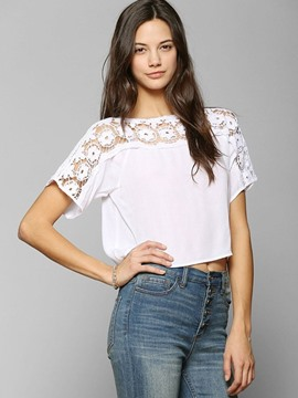 Ericdress Lace Hollow Short Sleeve T-Shirt