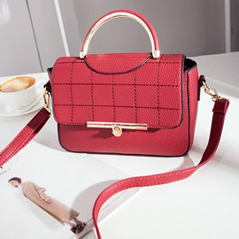 Ericdress Grid Embroider Line Metal Handle Handbag