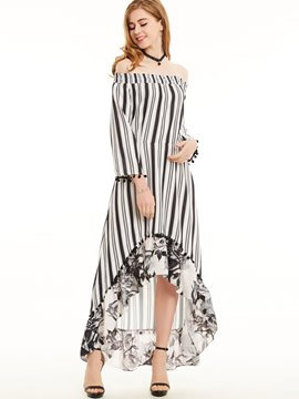Ericdress Vertical Striped Print Patchwork Maxi Dress