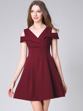 Ericdress V-Neck Backless Elegant A Line Dress
