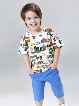 Ericdress Cartoon T-Shirt & Blue Pants Boys 2-Pcs Suit