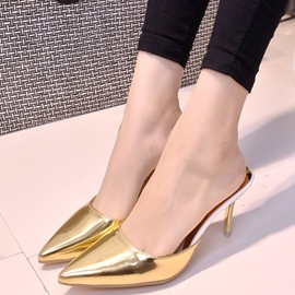 Ericdress Fashion Patent Leather Point Toe Mules Shoes