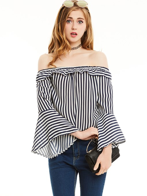 Ericdress Slim Stripe Slash Neck Flare Sleeves Blouse
