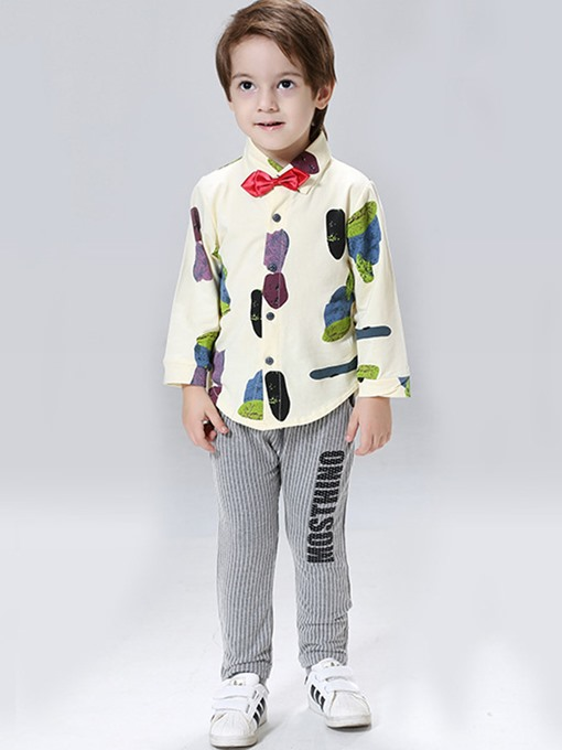 Ericdress Vogue Single-Breasted Bow Shirt & Stripe Pants Boys Suit