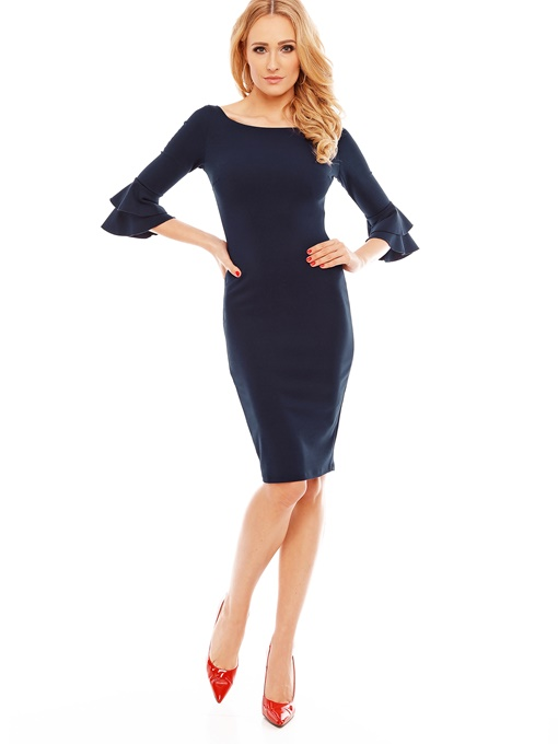 Ericdress Mid-Calf Round Neck Three-Quarter Sleeve Zipper Dress