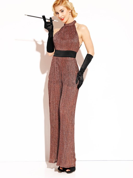 Ericdress Backless Wide Leg Vintage Women's Jumpsuit