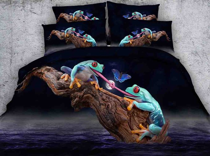 3D Frogs and Butterfly Printed Cotton 4-Piece Bedding Sets/Duvet Covers