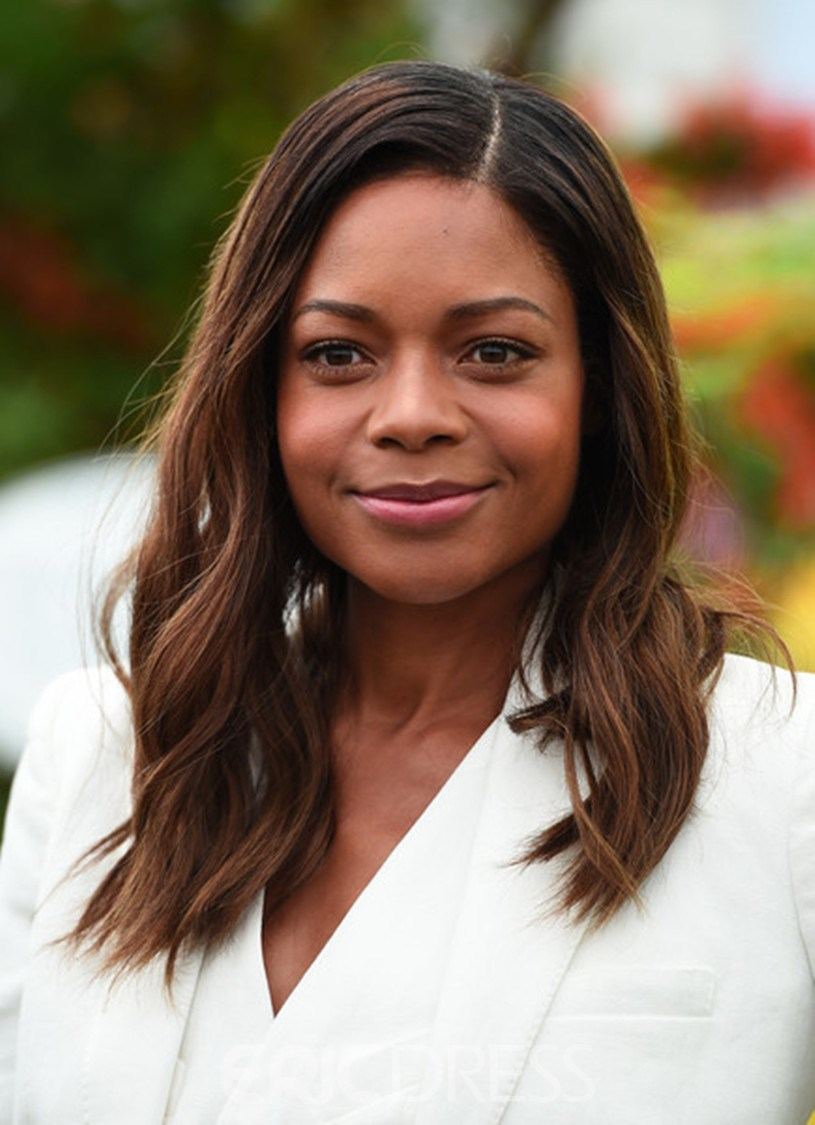 Ericdress Naomie Harris Blunt Cut Ombred Root Dark Medium Wave Human Hair Lace Front Cap Wigs 16 Inches 12801075